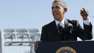 Obama speaks in front of the Edmund Pettus Bridge. (Reuters/Jonathan Ernst)